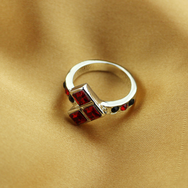 Harley Quinn  Suicide Squads Black Red Gem ring