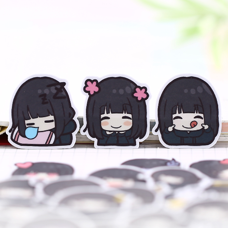 40 Pcs Girl Avatar  Hand-painted Student Sister Papers Toys Stickers Flakes Diary Car Decoration Diy Scrapbooking Children