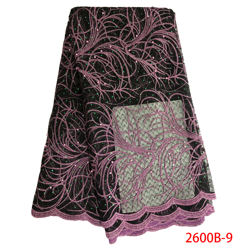 Ev ve Bahçe'ten Dantel'de Sıcak satış Sequins dantel kumaşlar 2019 yüksek kalite fransız Net dantel afrika örgü dantel boncuklu kumaş/Sequins düğün için APW2600B'da  Grup 1