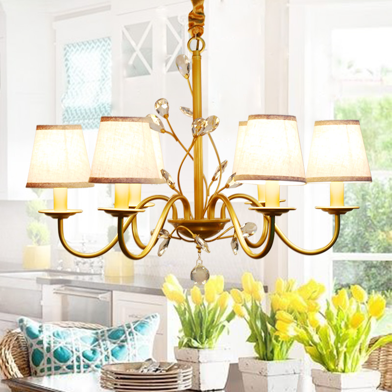 GOLD American wrought iron chandelier European country retro living room lamp modern minimalist Nordic bedroom Veayas 2243GOLD American wrought iron chandelier European country retro living room lamp modern minimalist Nordic bedroom Veayas 2243