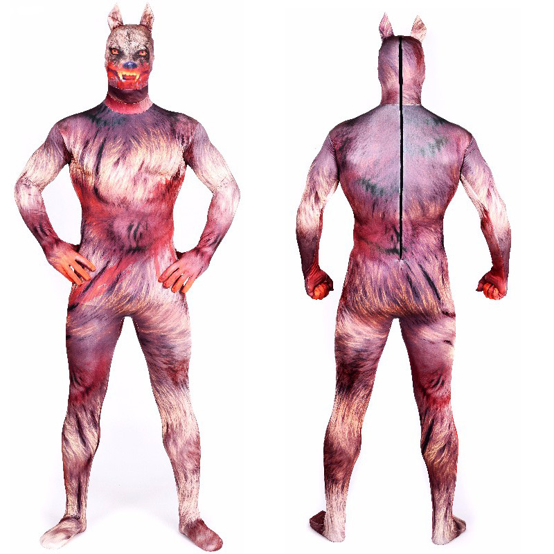 Halloween Zentai Costume Adult Werewolf Costumes Spandex Anime Super Hero Catsuit Cosplay Suits Bodysuit