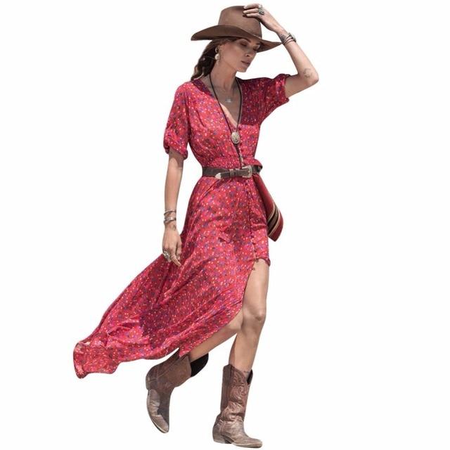 Lente zomer vrouwen v-hals maxi boho dress bloemen mid mouwen casual beach jurken