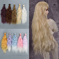 25*100CM 1Piece Free Shipping Colorful Corn Curly Wavy Doll DIY Wigs For 1/3 1/4 1/6 BJD SD Handmade Dolls Wig Perm Hair