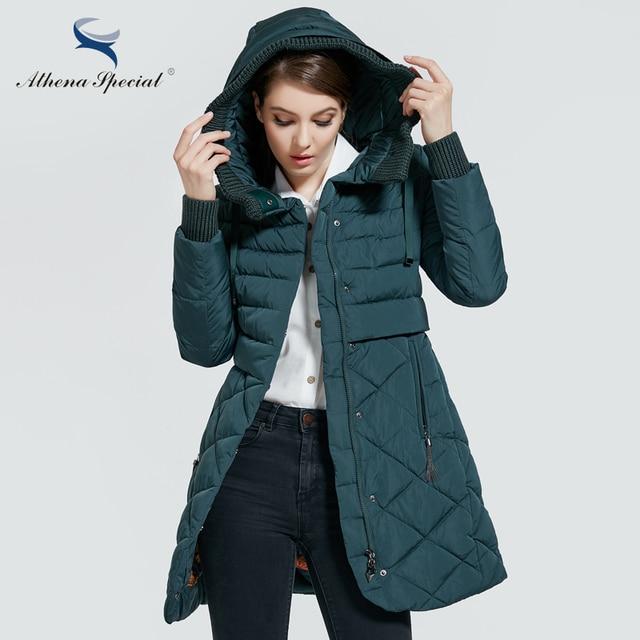 Athena Special 2017 Новая Зимняя Коллекция Длинный зимний женский пуховик Мод открытое теплое пальто с Капюшоном Теплая Женская Парка Женская Куртка в Европейском Стиле верхняя одежда Высокого Качества