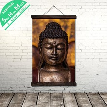 Meditating Real Buddha Scroll Painting Canvas Vintage Poster and Prints Wall Art Pictures Bedroom Farmhouse Decoration
