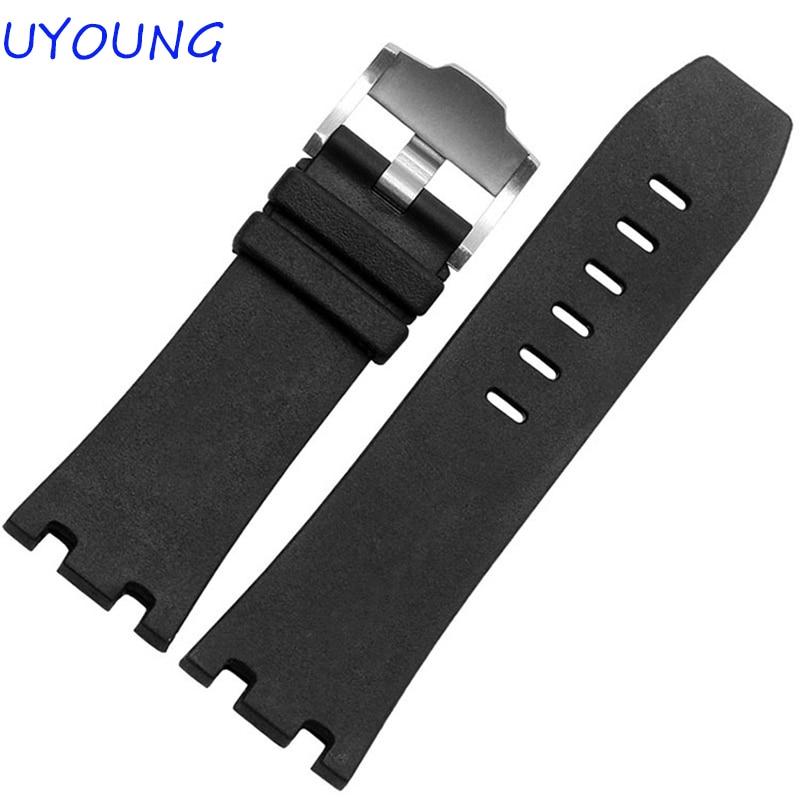 Prabangi juosta, 28 mm kamufliažinė juoda gumos silikoninė, - Laikrodžių priedai - Nuotrauka 3