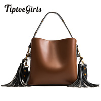 Small Bag New Korean Tide Wide Shoulder Strap Bucket Bag Hit The Color Wild Handbag Simple