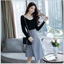 2017 autumn new dress fashion Slim female autumn long sleeve suit skirt small fragrance wind was thin high waist  two sets