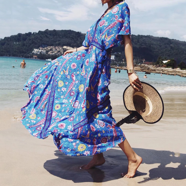 aaaa18bc83d Long Flower Dress Vintage Bohemian Maxi Dress Sexy Ethnic Deep V-neck  Floral Print Beach Dresses Boho Hippie Robe Vestidos 2018
