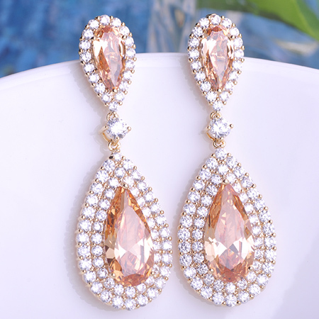 Gorgeous Statement Water Drop Dangle Earrings AAA Zircon Gold Color Blue Green Champagne Evening Dress 6 Colors