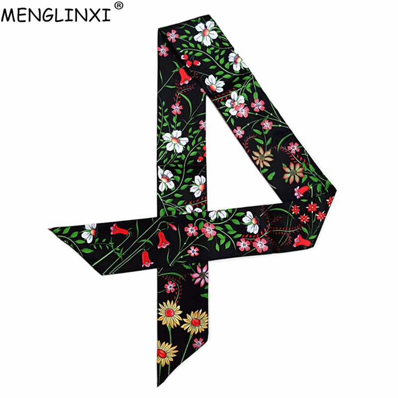2019 New Skinny Scarf Floral Printing Silk Scarf For Women Luxury Brand Foulard Fashion Flower Ladies Bag Scarf Head Scarves