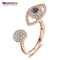 LZESHINE New Unique Hyperbole Opening Eyes Finger Rings Rose Gold Color Silver Color Clear CZ Paved