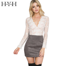 HYH HAOYIHUI Deep V White Lace Women Blouse 2017 Autumn Embroidery Elegant Chemise Female Transparent Mesh Plunge Neck Blaus