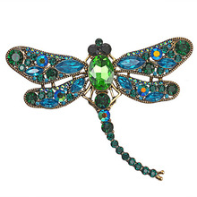 цены RE Women's crystal dragonfly brooch large jewelry rhinestone pins brooches for women handmade metal pin badge with chains B34