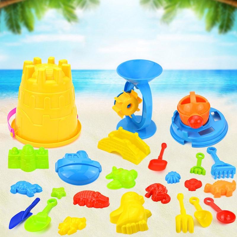 Hot Children Beach Toys Bath Play Mold For Sand Tools 25 Piece Set Castle Barrel Baby Home Beach Play Juguetes Playa Cubo NewG08