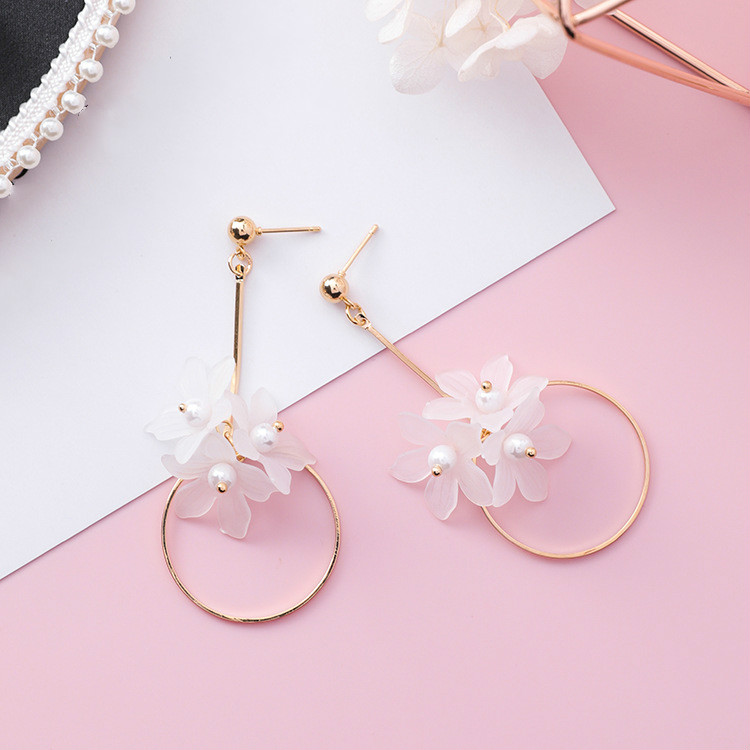 Ethnic Plant Women Dangle Earrings Small Fresh Acrylic Flower Pole Long Earrings For Women Drops Earrings 5