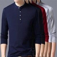 ECTIC Gan2018 Mandarin Collar Long Sleeve T Shirt Men Spring Summer New Top Men Brand Clothing