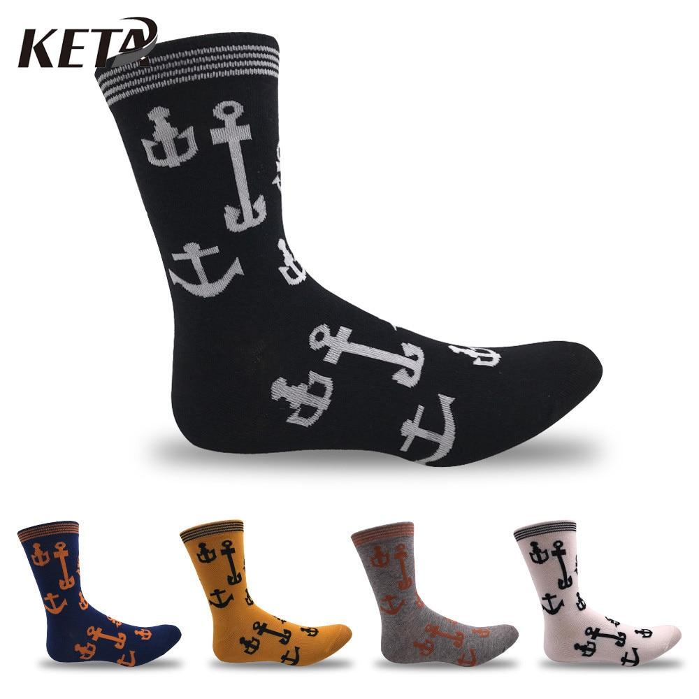 KETA Fashion Cotton Men Socks Striped Cartoon Anchor Casual Colorful Male Socks Business Crew Cool Meias Funny Socks 5Pairs