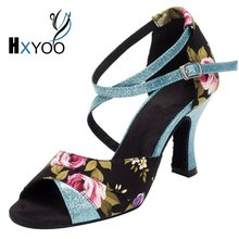 HXYOO Women Latin Ballroom Shoes Ladies Salsa Shoes For Dance Satin Soft Soled Floral Black With Blue WK019