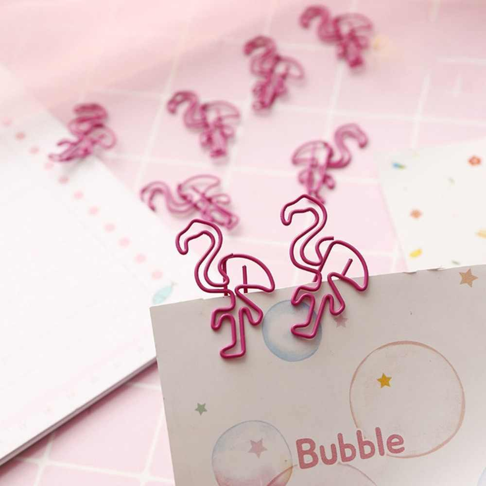 Japanese Korean Style Pink Paper Clip Mini Beautiful Flamingo Metal Clip Notes Small Clip Storage Clip hold paper tightly