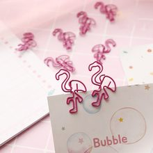 Japanese Korean Style Pink Paper Clip Mini Beautiful Flamingo Metal Clip Notes Small Clip Storage Clip hold paper tightly(China)