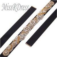 MissRDress Sash Nuziale Wedding Cintura di Cristallo Dell'oro Del Nastro Abito Da Sposa Cintura di Strass Ribbon YS802