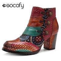 Socofy Vintage épissage imprimé bottines pour femmes chaussures femme en cuir véritable rétro bloc talons hauts femmes bottes 2019 nouveau