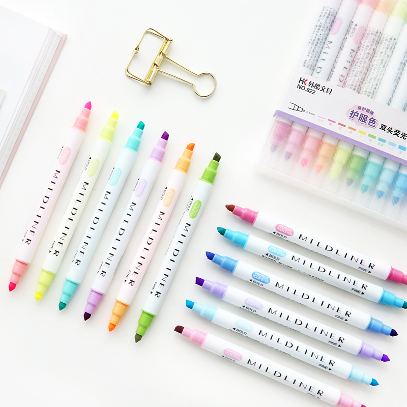 Cute 12 Colors Mildliner Pens Highlighter Dual Double Headed Fluorescent Pen Art Drawing Marker Pen Stationery School Supply