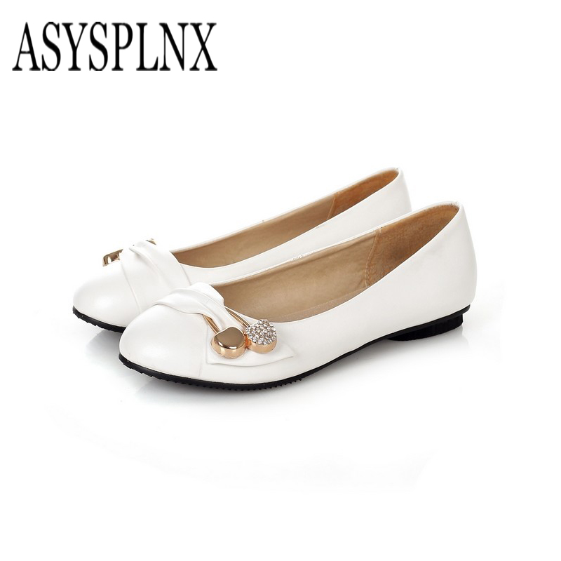 ASYSPLNX 2017 new round metal decorative cherry diamond single shoes women's shoes