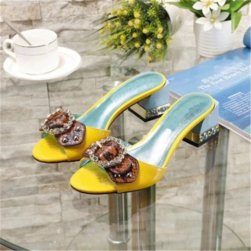 Шлепанцы с открытым носком, украшенные стразами и бантом, женская кожаная обувь на толстом квадратном каблуке, новая модная летняя женская обувь - 4