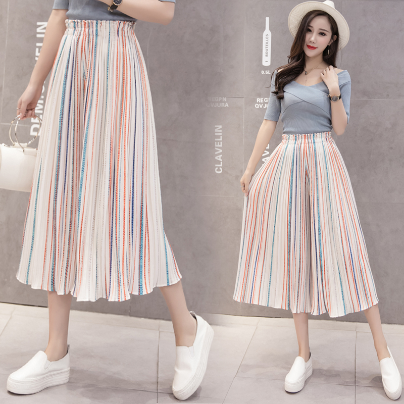 Azterumi Summer New 2019 Women Fashion Stripe   Wide     Leg     Pants   Women Casual Loose Pleated Chiffon   Pant