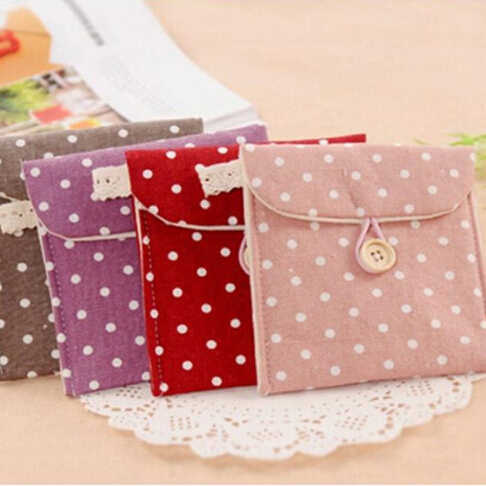 Fast Shipping Polka Dot Organizer Storage Female Hygiene Sanitary Napkins Package Small Cotton Storage Bag Purse Case