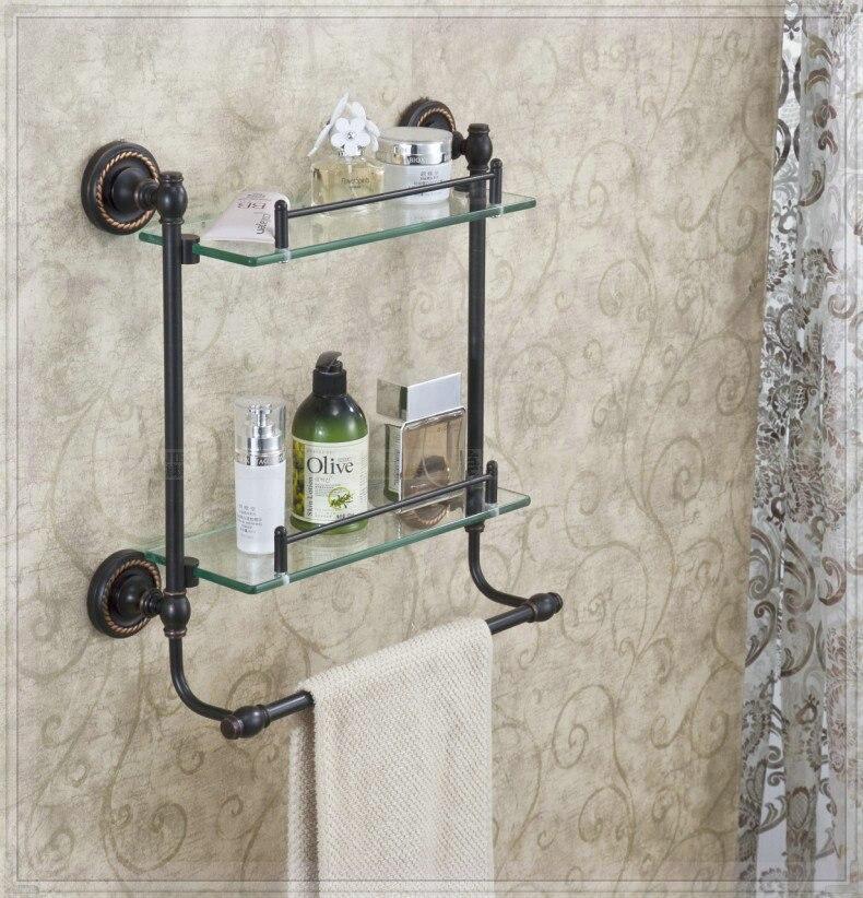 Double Tier Bathroom Glass Shelf Wall Mount Costmetic Holder with ...
