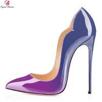 כוונה מקורית 9 צבעי סופר סקסי נשים משאבות אופנה מחודדות משאבות אישה נעלי עקבים גבוהים דקים הבוהן בתוספת גודל ארה