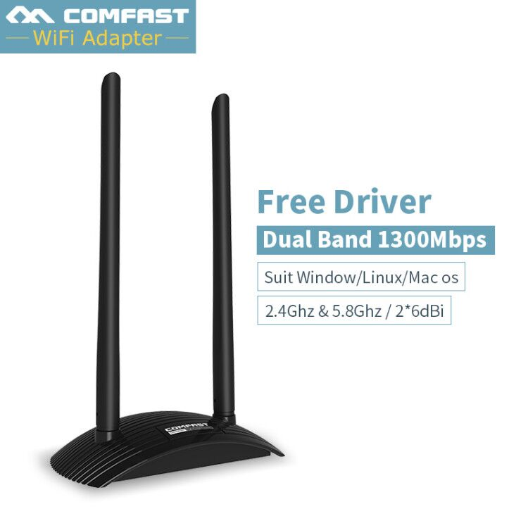 Gigabit 5G de Alta Potência Adaptador Sem Fio Wi-fi Antena Dupla wifi 6dB 1300 Mbps Placa de Rede Sem Fio USB Receptor Wi-fi adaptador