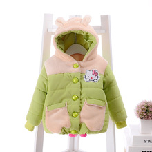 Children thick winter coat coat 2016 female cartoon baby fleece hooded padded jacket