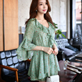Dabuwawa green high waist v neck ruffled printed jumpsuit