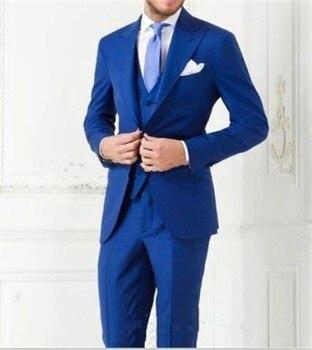 Custom Made Groom Tuxedos Blue Groomsmen Peak Lapel Wedding/Dinner Suits Best Man Bridegroom (Jacket+Pants+Tie+Vest) B578