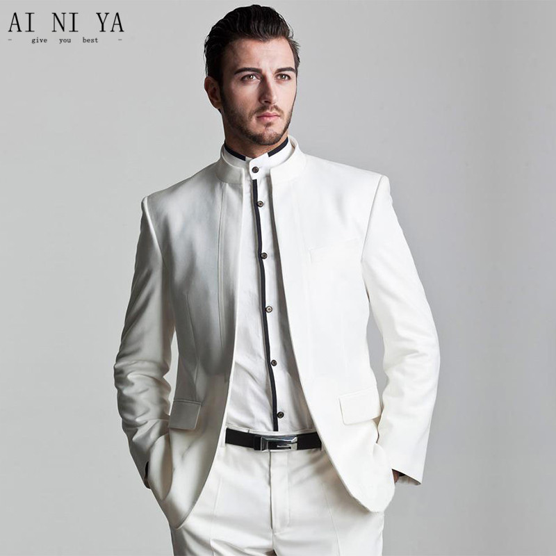 New Men's suits, Business Formal slim of white stand collar Chinese tunic suit The groom suit custom/ wedding/ dresses