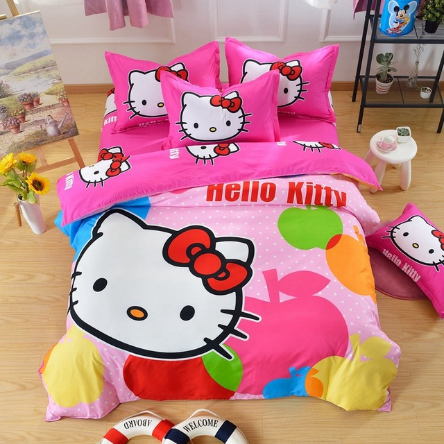 56919c8e5723f9 Bande dessinée Bonjour Kitty Daroemon Chat Style enfants Literie Ensembles  3-4 pcs lit ensemble