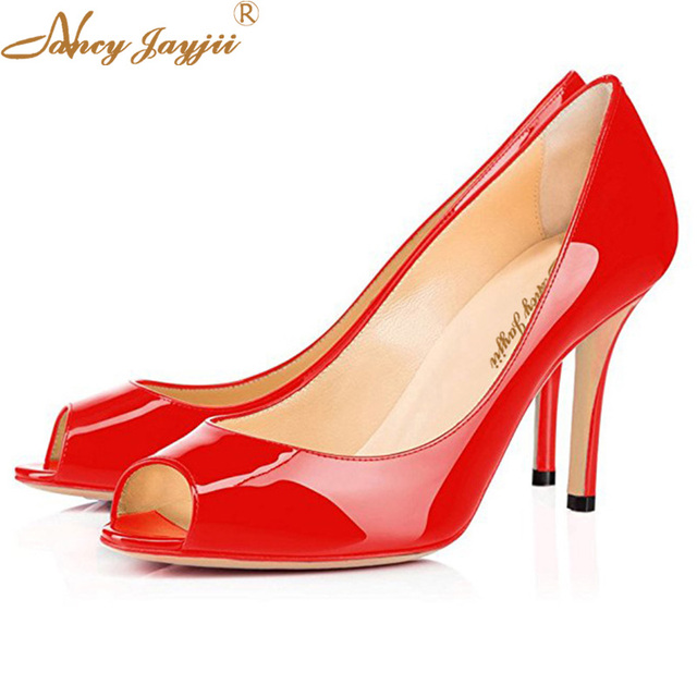 234fdf57948a Sexy Autumn Red Black Flattering Peep Toe Women Pumps Glossy Patent Leather  High Thin Heels Ladies Bride Evening Shoes Women 11