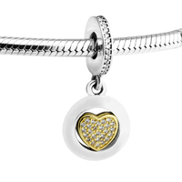 Authentic 925 Sterling Silver Bead Charm Signature Heart with Clear CZ Original Europe Beads Fits Pandora Bracelet DIY Jewelry