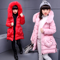 Chica de moda chaqueta de invierno Chaquetas de down Abrigos Niños calientes de piel Real bebé gruesa chaqueta de Plumón de pato Niños Outerwears invierno-30 degre