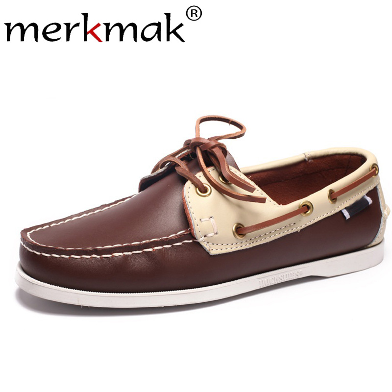 Merkmak Loafers Lazy-Shoes Boat Slip-On Comfortable Genuine-Leather Men's Fashion Footwear