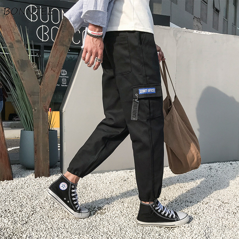 Genteel Pants Men Ankle-length Elastic Waist Korean Style Pockets Leisure Daily Loose Simple All-match Cargo Pant Mens Harajuku Trousers Cargo Pants Men's Clothing