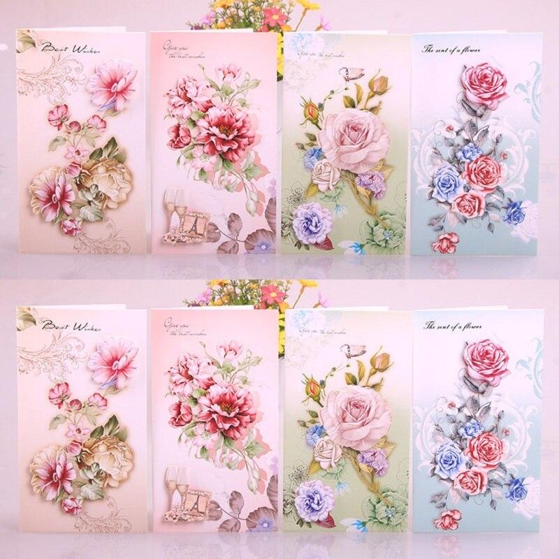 Three dimensional Flower Greeting Card Creative Handmade ...