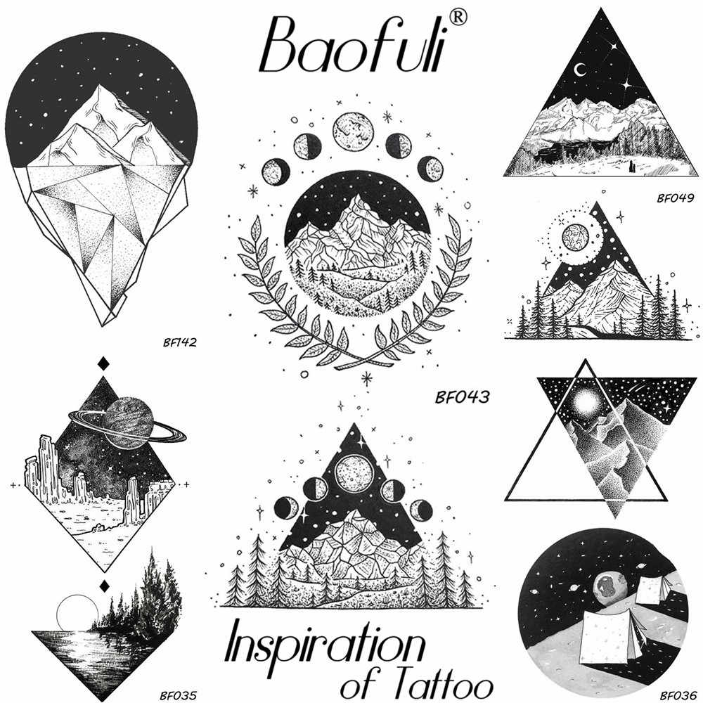 Men Geometric Round Triangle Temporary Tattoo Galaxy Stars High Mountain Forest Tatoos Fake Body Art Olive Branch Tattoo Sticker