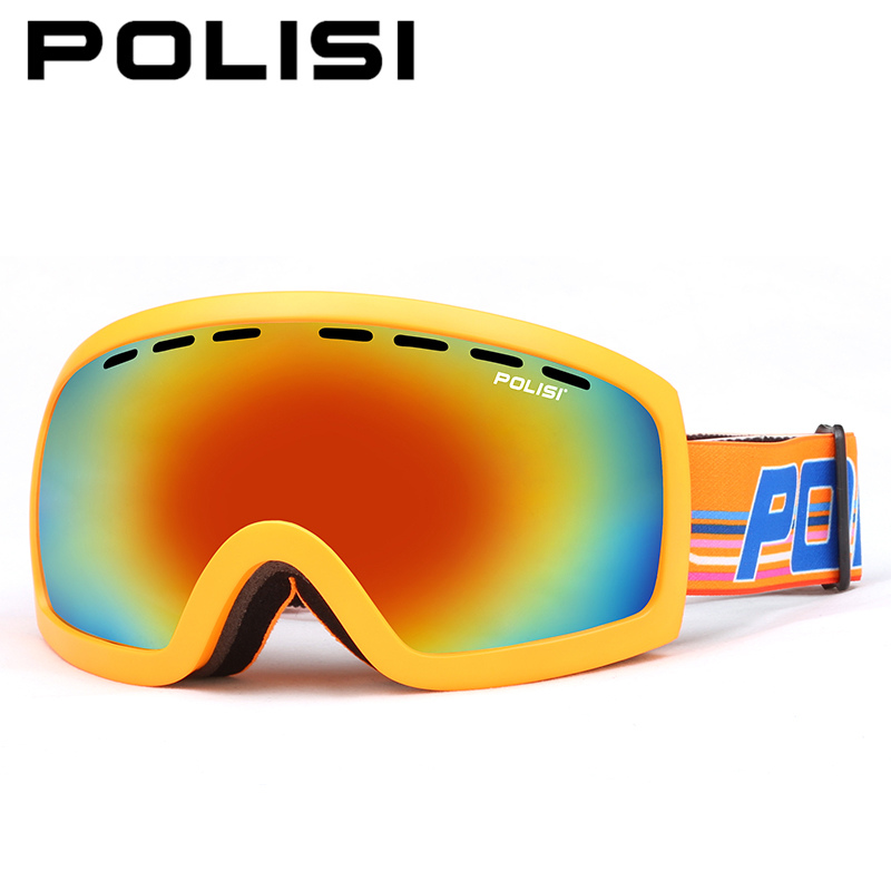 POLISI Winter Skiing Protective Glasses UV400 Snowmobile Snow Eyewear Men Women Double Layer Anti-Fog Lens Snowboard Goggles