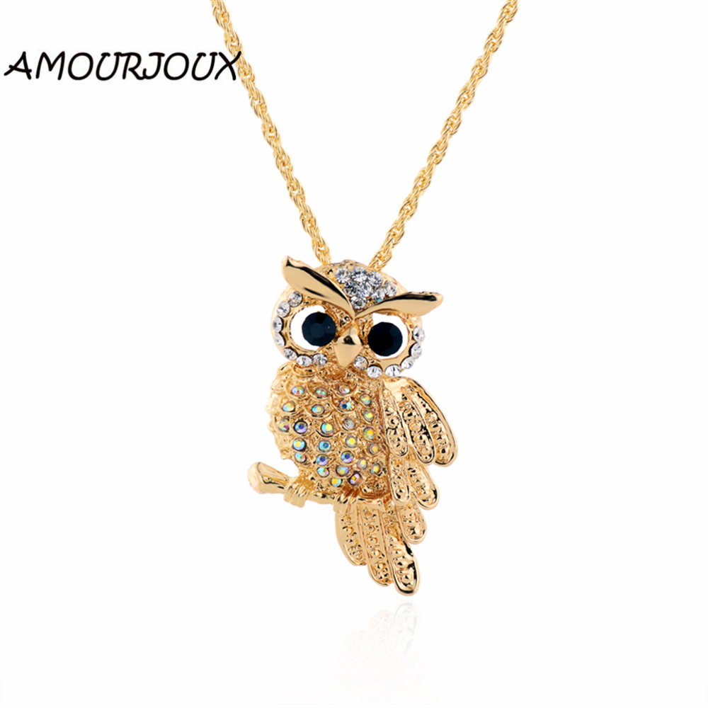 AMOURJOUX Gold Rhinestone Filled Cute Owl Necklaces & Pendants For Women Long Necklace Woman Jewelry Wholesales
