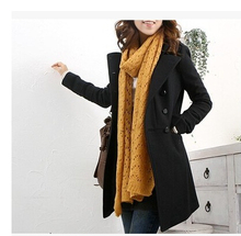 Free shipping 2016 Autumn Winter Wool Blended Women Coat Plus Size Slim Female Coats Overcoat
